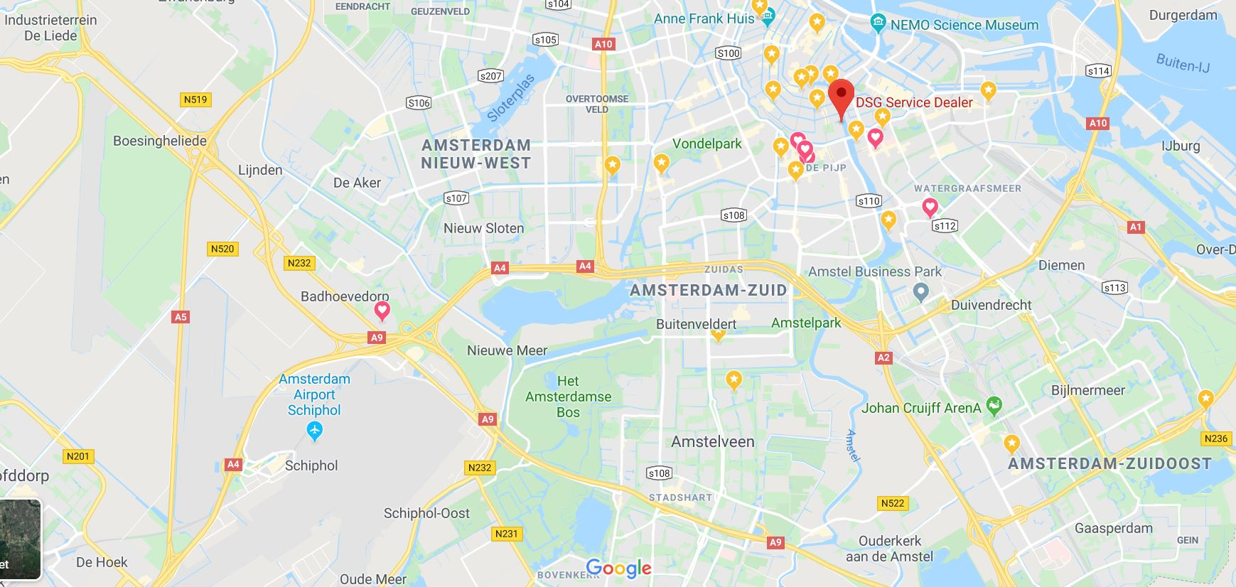 google maps DSG Service dealers Amsterdam Maarten Jansz Kosterstraat 26 - Amsterdam DSG Service Dealer